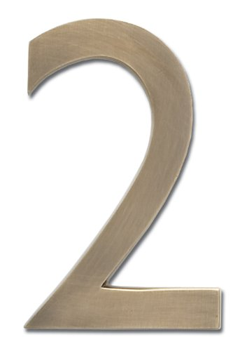 Architectural Mailboxes 3582AB-2 Brass 4-Inch Floating House Number, Antique Brass (Brass 2 Inch House)