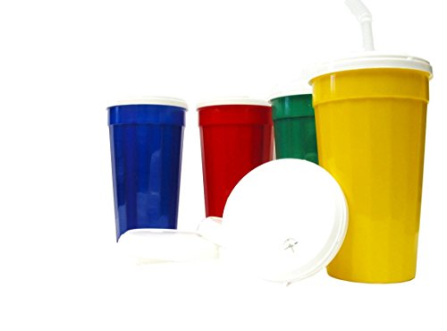 Talisman, 8 Large 32 Ounce Mix 4 Colors Plastic Fluted Tumblers White Lids and Flex Straws.