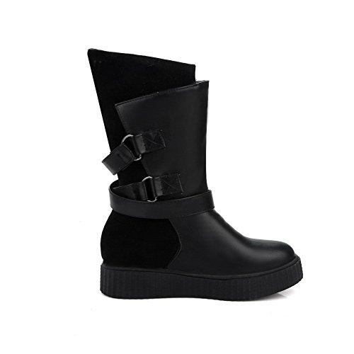 AllhqFashion Mujeres Puntera Redonda PU Sólido Sin Cordones Mini Tacón Botas Negro