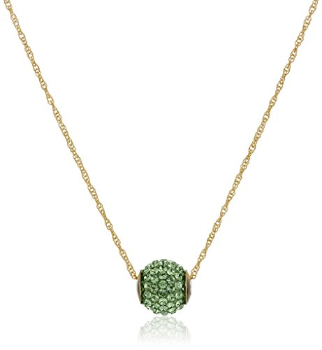 (10k Yellow Gold Pear Green Swarovski Crystals Slide Ball Pendant Necklace, 18