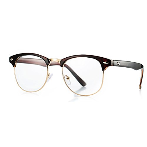 AZORB Classic Semi-Rimless Clubmaster Clear Lens Glasses (Brown/Gold, - Mens Latest Glasses Styles