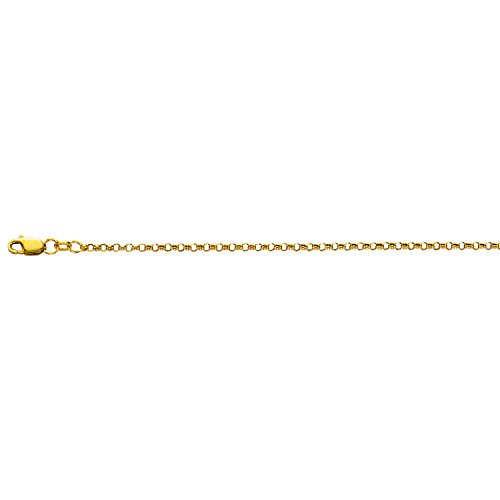 10K Yellow Gold 2.3mm Diamond Cut Rolo Chain Anklet with Lobster Clasp