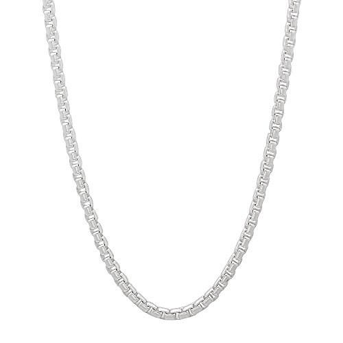 1.9mm 925 Sterling Silver Nickel-Free Rounded Box Chain Italian Necklace, 30 inches + Cleaning Cloth