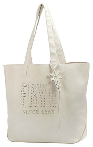 FRYE Carson Logo Perf Leather Tote Bag, White ()