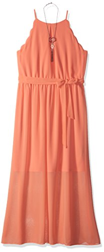Amy Byer Girls' Big Scalloped Maxi Dress, Desert Coral, 10 -