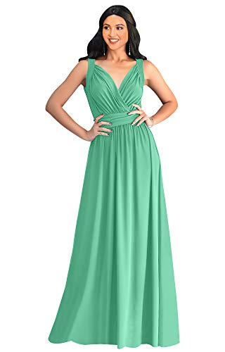 KOH KOH Plus Size Womens Long Sleeveless Flowy Bridesmaids Cocktail Party Evening Formal Sexy Summer Wedding Guest Ball Prom Gown Gowns Maxi Dress Dresses, Moss/Mint Green XL 14-16
