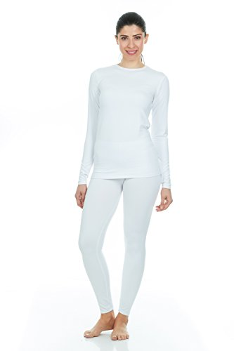 Thermajane Women's Ultra Soft Thermal Underwear Long Johns Set with Fleece Lined (3X-Large, White)