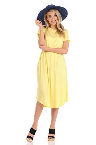 iconic luxe Women's Short Sleeve Flare Midi Dress with Pockets Small (Fancy Dress Banana)