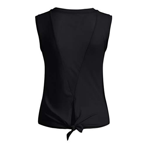 Donne Sexy Blusa Maglietta Camicie Activewear Da Workout Yoga Sport Canotta Top Camicetta nero kword Back Muscolo Camicia Palestra A Pullover Tunica Shirt Open EfqXf