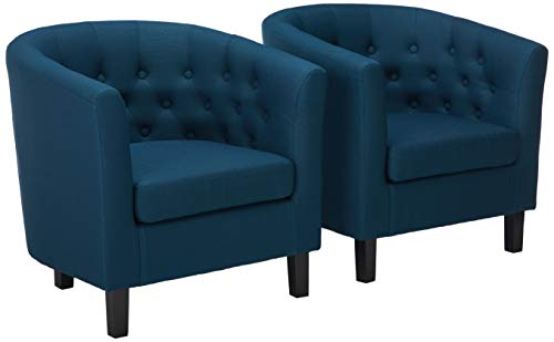 Modway EEI-3150-AZU-SET Prospect Upholstered Fabric Accent Lounge Living Room Armchairs, Set of Two, Azure