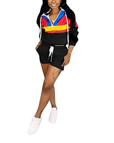 (Women's 2 Piece Sportsuit - Long Sleeve Color Block Hooded Crop Top Bodycon Short Pants Set (Small, Black))