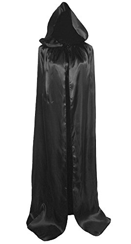 All Black Costumes For Halloween (Unisex Hooded Cloak Coat Witch Robe Cape Long Halloween Cosplay Party Cloak59