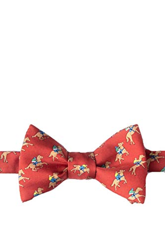 Men's Red Equestrian Win Place Show Horse Racing 100% Silk Self Tie Bowtie Bow Tie