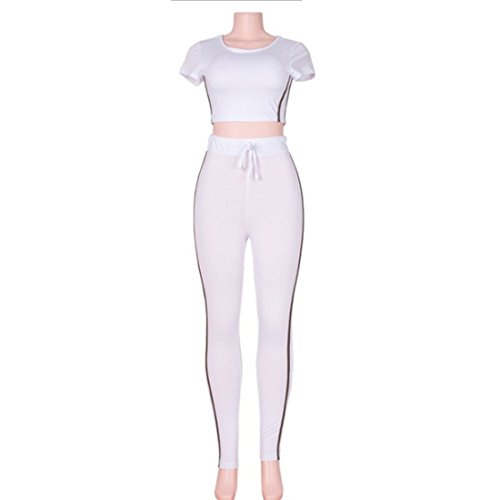Women's Short Crop Long Pants Casual Suits And Sets White