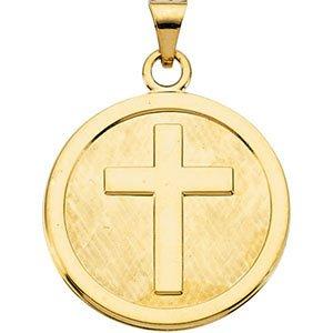 14K jaune pendentif croix 23mm