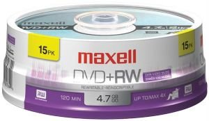 MAXELL 634046 4.7 GB DVD+RW (15-CT SPINDLE)