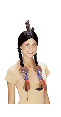 Adult Pocahontas Indian Wig (Rubie's Costume Adult Indian Maiden Wig, Black, One Size)