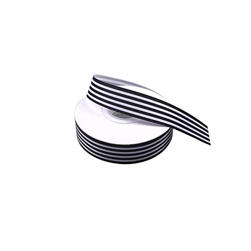 Black and White Striped Grosgrain Ribbon 1 Inch Gift Wrap Ribbon for Party Wedding Holiday Handmade Craft Decor 25 Yards ()