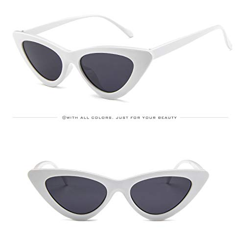 Frame Eyeglasses Wild Sunglasses Outdoor UV Protection Glasses Fashion Decorative Travel Cat Small Frame Stylish Goggles Sunglasses Triangle Holiday Sun White grey Eye for Shopping Lens FaB6WKUcH
