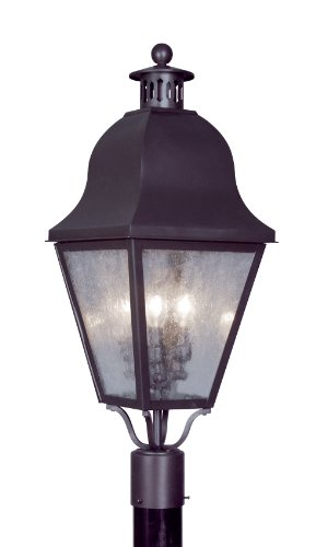 Livex Lighting 2556-07 Outdoor Post with Seeded Glass Shades, Bronze