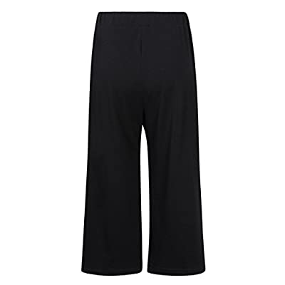 GlorySunshine Women's Elastic Waist Solid Palazzo Casual Wide Leg Pants with Pockets at Women's Clothing store