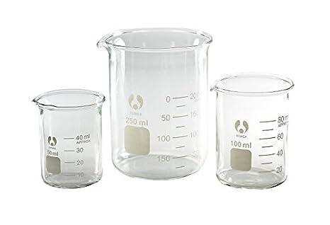 graduated bomex beaker set 50 100 and 250ml glass science lab