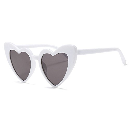 MINCL/New Fashion Love Heart Sexy Shaped Sunglasses For Women Girls Brand Designer Sunglasses UV400 (white) (White Heart Sunglasses Shaped)
