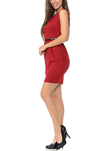 Sleeveless Sheath Burgundy Workwear Office Color Collection Dress Women's Auliné wWxqByA7n
