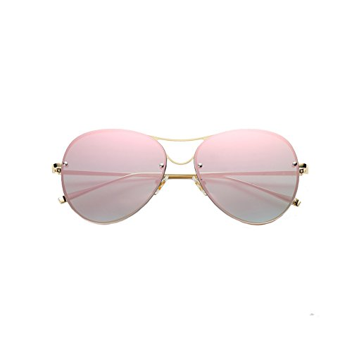 Sunglasses for Women,Aviator Mirrored Flat Lens Rimless Sunglasses Metal Frame UV400 (Frameless-Pink Lens) ()