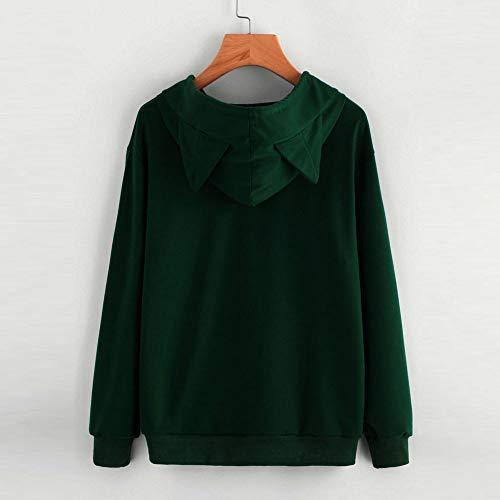 Army Moda Long cappuccio Top green A Autunno Top Overdose Felpa Camicetta con Cat Pullover Donna Sleeve Lady xSn8aw