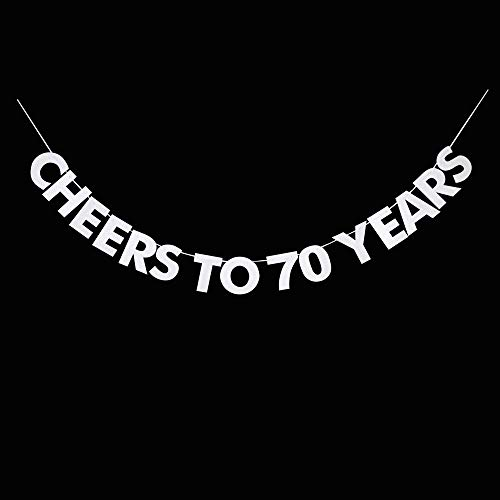 Cheers to 70 Years Banner, 70th Birthday, Wedding Anniversary, Retirement Party Bunting Sign Decorations Photo Props, Party Favors, Supplies, Gifts, Themes and Ideas
