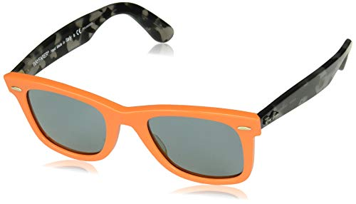 Ray-Ban RB2140 Wayfarer Sunglasses, Orange/Polarized Blue, 50 mm]()