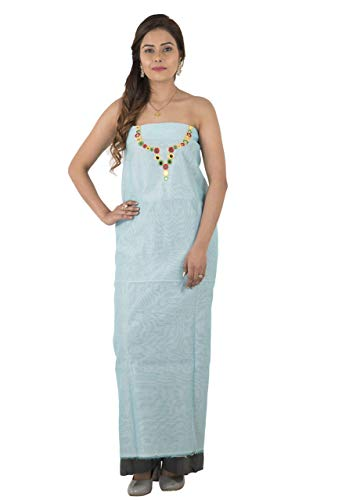 TRIBES INDIA Women's Chanderi Suit Dress Material Medium Sky Blue ()