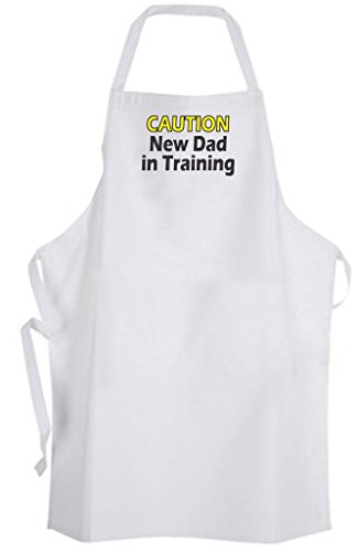 Caution New Dad in Training - Adult Size Apron - Diaper Duty Baby Shower Funny