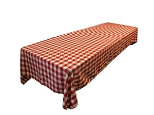 LinenTablecloth 60 x 102-Inch Rectangular Tablecloth Red & White Checker (And Cloth Table White Wedding Red)