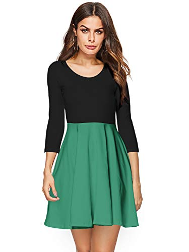 Amoretu Summer Casual 3/4 Sleeve Color Block A Line Skater Dress for Women Plus Size(Army Green, XXL)