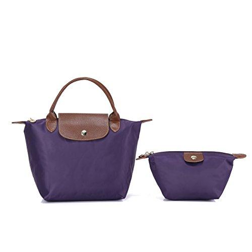 2 pcs Women's Stylish Waterproof Tote Bag Nylon Travel Shoulder Handbag (Dark purple;Mini number)
