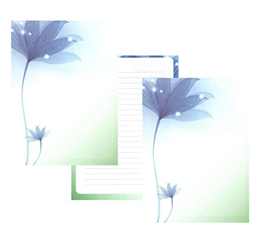 IMagicoo 50 Vintage Retro Lined Writing Stationery Paper Pad Letter Set (Blue Flower)