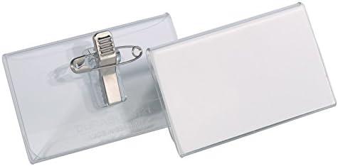mit Einstecklasche, 40 x 75 mm Durable 812019 Namensschild Packung /à 25 St/ück transparent