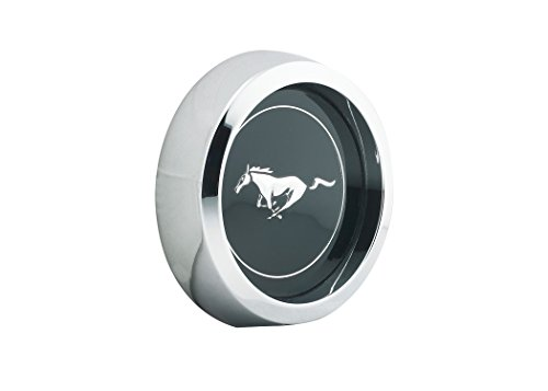 Mustang Wheel Cap Magnum 500 Black with Silver Horse Chrome Bezel Each 1964 1/2 - 1973 - Legendary Wheel Co.