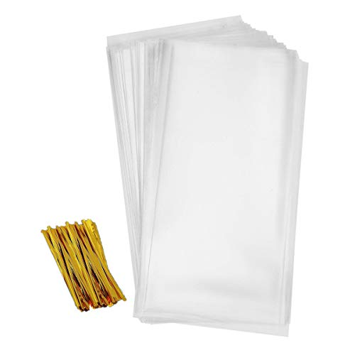 Cellophane Goody Bags 200 PCS Clear Cello Treat Bags Party Favor Bags for Gift Bakery Cookies Candies Dessert with 200 PCS Metallic Twist Ties (5.5