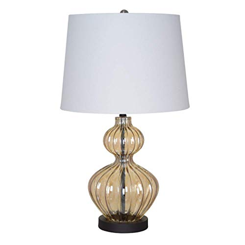 Ravenna Home Modern Amber Glass Table Lamp With LED Light Bulb -14 x 14 x 23.75 Inches, Bronze