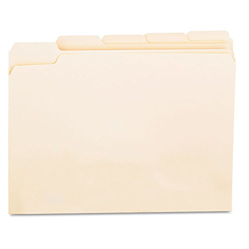 Universal File Folders, 1/5 Cut Assorted, One-Ply Top Tab, Letter, Manila, 100/Box ()
