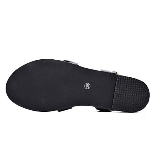 Cheville Chaussures femmes Romaine Croix Sandales D'été Beikoard Femme Occasionnelles Noir Chaussure Plat Dames Sangle qgnx6AUTzw