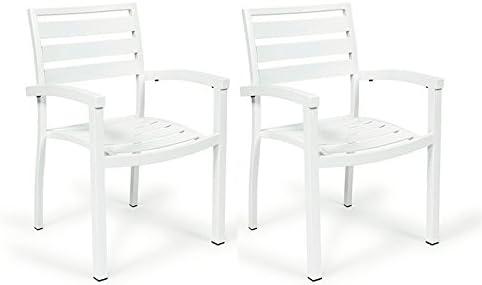 Centrosilla Sillón Lamas de Aluminio Eros para jardín, terraza o Exterior Pintado Resistente (Pack 2 Unidades) (Blanco): Amazon.es: Hogar