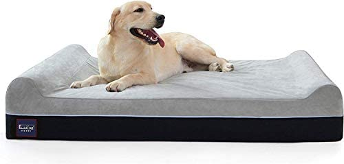 Laifug Orthopedic Memory Foam Extra Large Dog Bed with Pillow and Durable Water Proof Liner Removable Washable Cover Smart Design