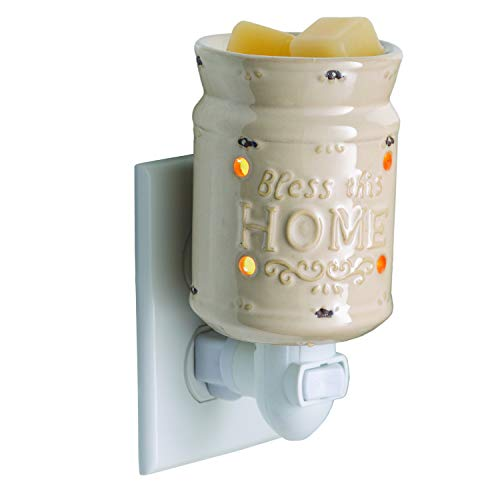 CANDLE WARMERS ETC Pluggable Fragrance Warmer- Decorative Plug-in for Warming Scented Candle Wax Melts and Tarts or Essential Oils, Bless This Home