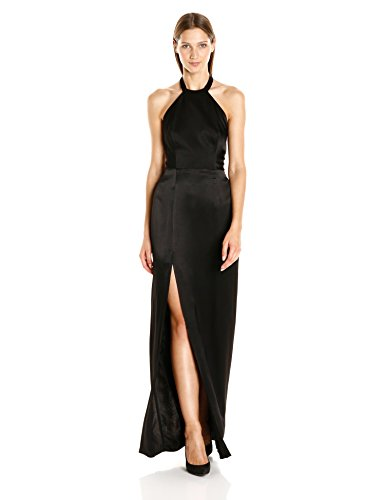 ABS Allen Schwartz Women's Halter Gown with Exposed Back in Rayon Satin, Black, 4