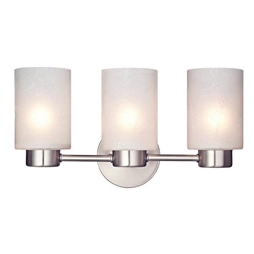 Westinghouse Lighting Westinghouse 6227900 Sylvestre Three-Light Interior Wall Fixture, Brushed Nickel Finish with Frosted Seeded Glass, 3, ()