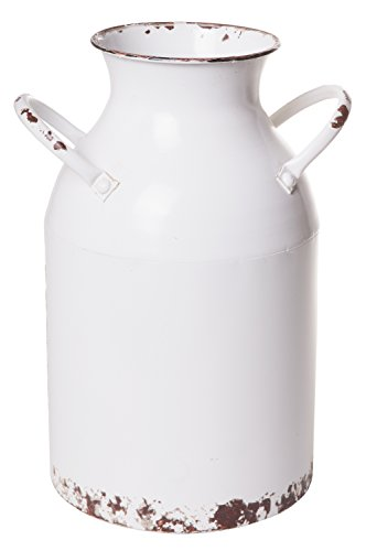 White Milk Jug - Old Fashioned Vintage Milk Can, Watering Jug Home Décor, Rustic Cream Finish, Large, 13-inch